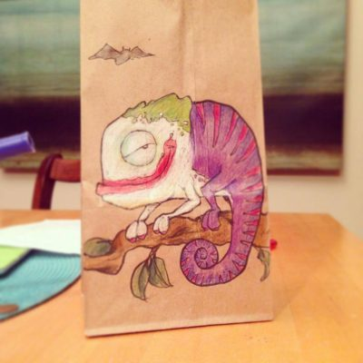 Dad Drew Awesome Illustrations On Son's Lunch Bag